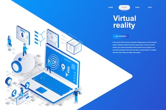 Virtual reality modern flat design isometric concept.