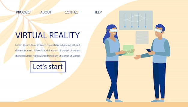 Virtual reality and office coworking landing page