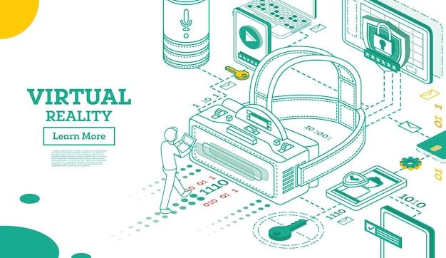 バーチャルリアリティの概要3dアイソメトリックコンセプト。ベクトルイラスト。白で隔離されるvrヘッドセット。バーチャル拡張現実メガネ。未来のテクノロジー。