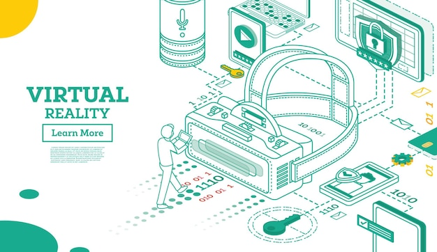 Virtual reality outline 3d isometric concept. vector illustration. vr headset isolated on white. virtual augmented reality glasses. future technology.