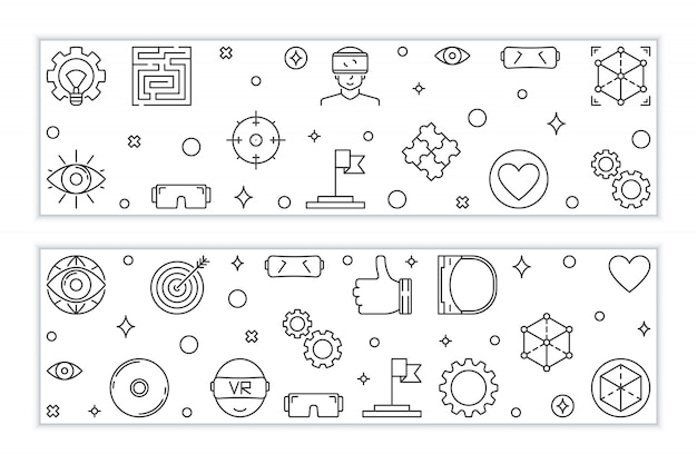 Virtual reality outline banners.  vr linear illustration