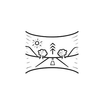 가상 현실 파노라마 풍경 손으로 그린 개요 낙서 아이콘. vr 게임, 360도 게임 파노라마 개념. 인쇄, 웹, 모바일 및 흰색 배경에 인포 그래픽에 대한 벡터 스케치 그림.