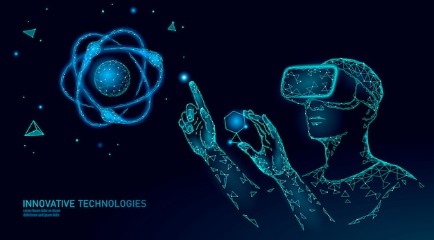 Virtual reality science research concept. engineer work on project augmented reality. 3d glasses headset vr data analysis digital device. online medicine technology   illustration