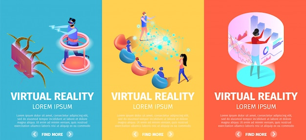 Virtual reality set of vertical banners. vr games