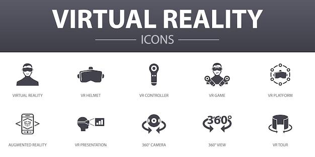 가상 현실 간단한 개념 아이콘을 설정합니다. vr 헬멧, 증강 현실, 360° 보기, vr 컨트롤러 등과 같은 아이콘이 포함되어 웹, 로고, ui/ux에 사용할 수 있습니다.
