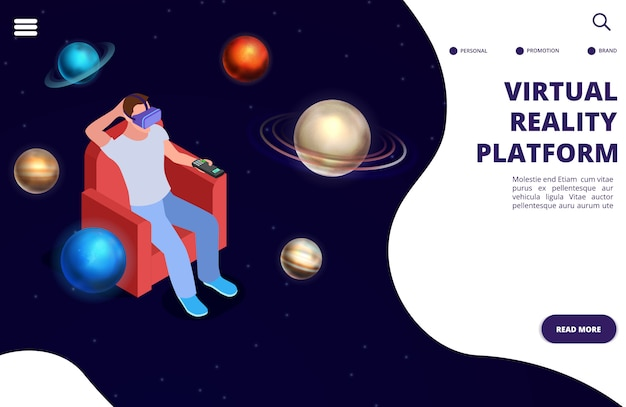Virtual reality space travel isometric  concept. space augmented reality illustration
