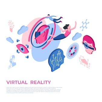 Virtual reality technology icons with people