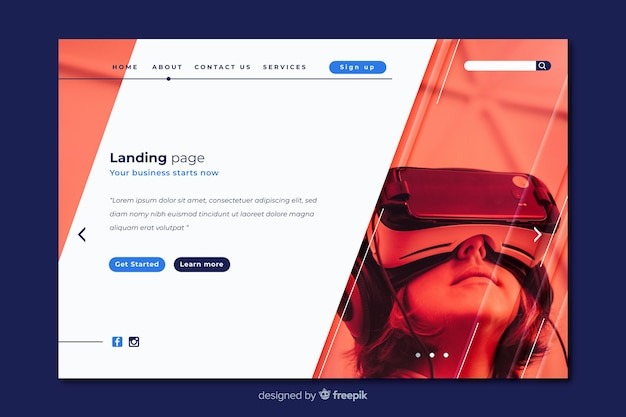 Virtual reality technology landing page
