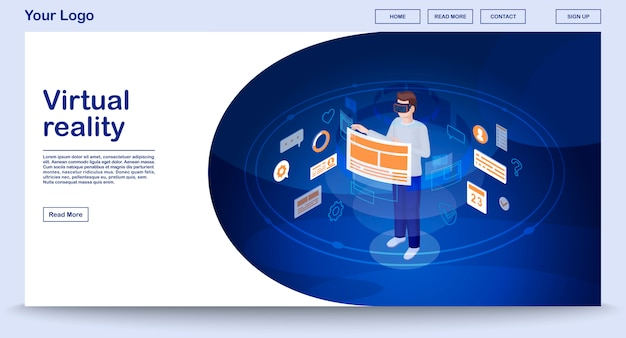 Virtual reality ui webpage vector template with isometric illustration, landing page
