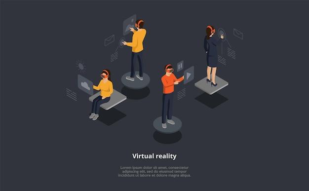 가상 현실 벡터 아이소 메트릭 구성. 3d 만화 캐릭터는 터치 인터페이스로 헤드셋을 착용합니다. 메일 확인, 사진 검색, 음악 온라인 그룹
