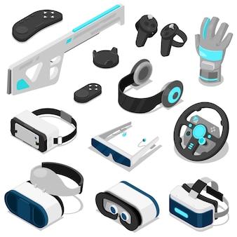 가상 현실 벡터 vc 게임 디지털 장치 또는 가제트 3d 안경 또는 흰색 배경에 고립 된 전자 엔터테인먼트 가상 장비의 헤드셋 아이소 메트릭 그림 세트