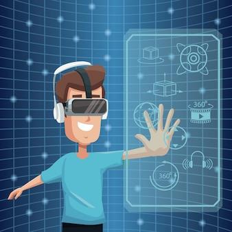 가상 현실 착용 고글 360도 비전 디지털