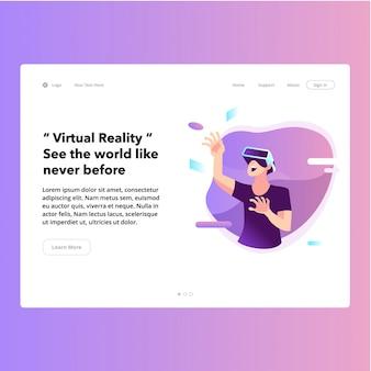 Virtual reality web page app page flat design