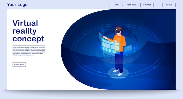 Virtual reality webpage template with isometric illustration