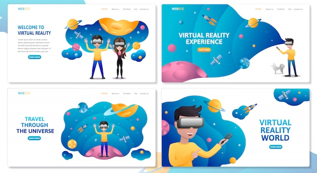 Virtual reality website template set. man wearing vr headset and looking at outer space with planets and rockets. augmented reality concept with people learning and entertaining.  illustration