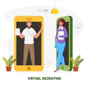 Virtual recruiting concept based poster  with illustration of businessman and woman in separate smartphone on white background.