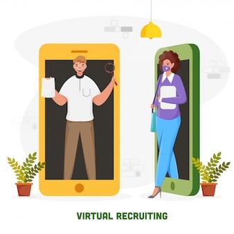 白い背景の上の別のスマートフォンで実業家と女性のイラストと仮想採用コンセプトベースのポスター。