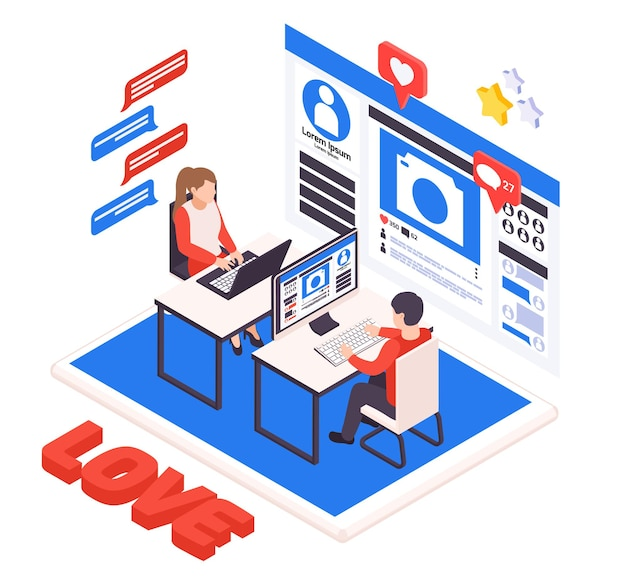 Виртуальные отношения и онлайн-знакомства изометрическая иллюстрация