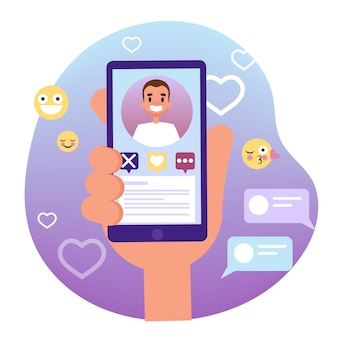 Virtual relationship and love dialog. communication between people