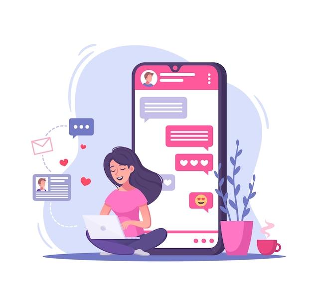 가상 관계 온라인 데이트 만화 그림