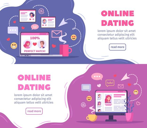 Горизонтальные баннеры виртуальных отношений и онлайн-знакомств