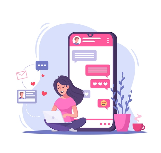 Virtual relationships and online dating cartoon illustration