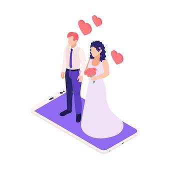 Изометрическая композиция виртуальных отношений онлайн-знакомств с женихом и невестой, стоящими поверх смартфона