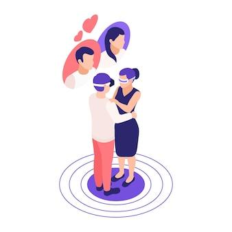 Composizione isometrica di incontri online di relazioni virtuali con l'abbraccio delle coppie che indossano l'illustrazione degli occhiali vr