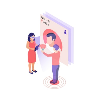 Изометрическая композиция виртуальных отношений онлайн-знакомств с девушкой в очках vr, сканирующей незнакомца с иллюстрацией приложения для знакомств
