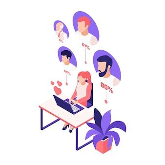 ラップトップとテーブルに座っている女の子とパーセンテージのイラストと潜在的なパートナーのアバターとの仮想関係オンラインデート等角投影図