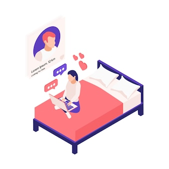 Composizione isometrica negli appuntamenti online di relazioni virtuali con la ragazza che si siede sul letto con l'illustrazione dell'applicazione del computer portatile