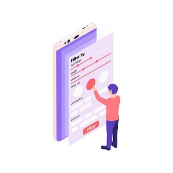 出会い系アプリのイラストのフィルターを調整する男性との仮想関係オンラインデート等角投影