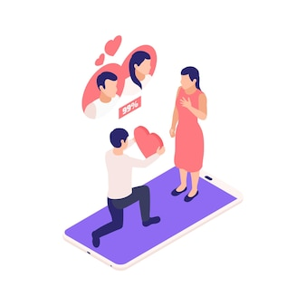 스마트폰 그림 위에 여자에게 마음을 주는 남자와 가상 관계 온라인 데이트 아이소메트릭 구성