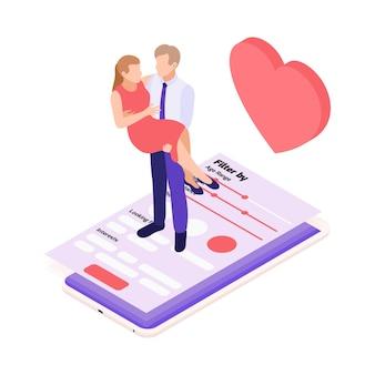 スマートフォンの画面の図で腕に女性を保持している男性との仮想関係オンラインデート等角投影図