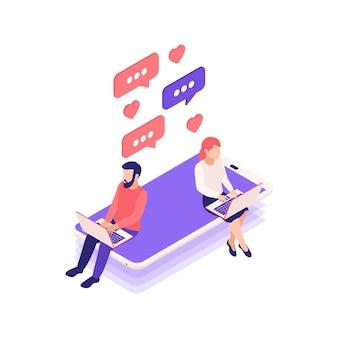 Composizione isometrica negli appuntamenti online di relazioni virtuali con l'uomo e la donna con i computer portatili che chiacchierano sull'illustrazione dello smartphone