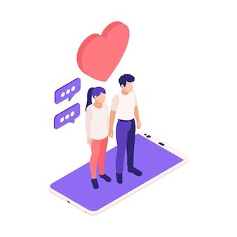 スマートフォンのイラストの上に立っている若いカップルとの仮想関係オンラインデート等角投影図
