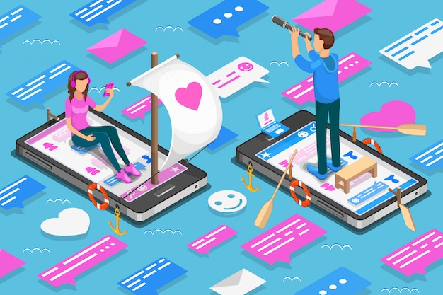 Virtual relationships and online dating isometric concept. teenagers are looking for a couple in social networks. illustration