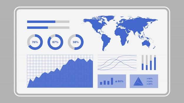 データ分析統計グラフダッシュボードを示す仮想画面