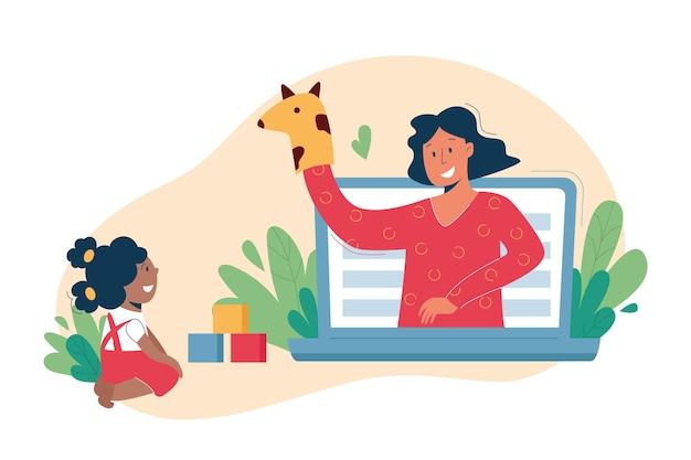 Виртуальная няня, услуги няни онлайн, концепция дистанционного обучения.