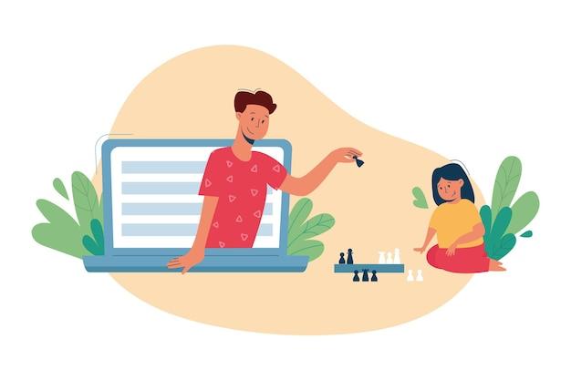 Виртуальная няня, услуги няни онлайн, концепция дистанционного обучения. Premium векторы