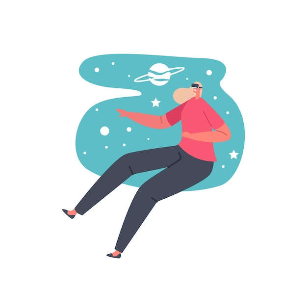 Virtual space entertainment or education concept. female character in vr glasses traveling in deep galaxy. game simulation, girl traveling through virtual reality world. cartoon vector illustration