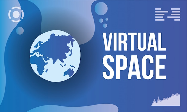 Virtual space scene with earth planet