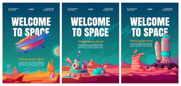 Virtual space travel flyers set.