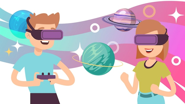 Virtual space travel. man woman wear vr glasses, augmented reality game. happy adults study planets of solar system, digital universe vector illustration. virtual page, vr travel in universe
