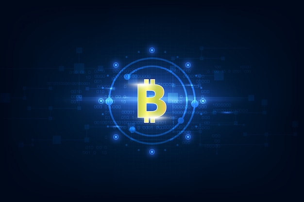 Virtual symbol of the coin bitcoin on binary code background