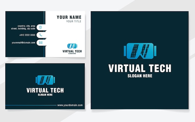 Virtual technology logo template on modern style