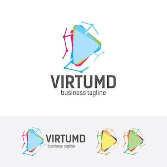 Шаблон логотипа виртуальной технологии