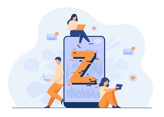 Virtual tiny people messaging in social media flat vector illustration. characters near huge smartphone. modern demography trend with progressive youth gen. z generation and digital technology concept