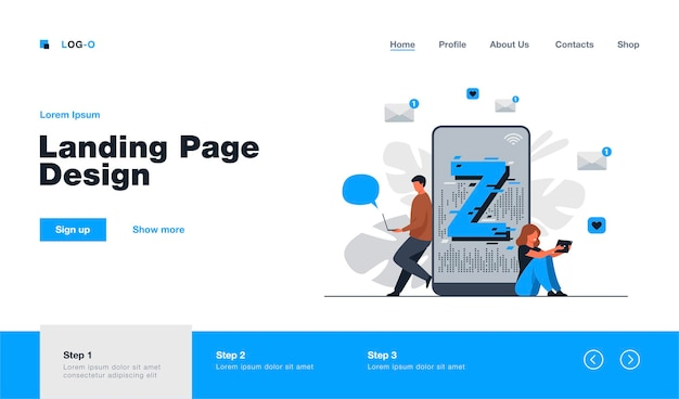 Virtual tiny people messaging in social media landing page template