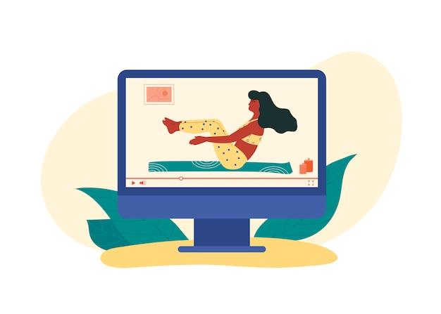 집에 운동을 보여주는 가상 트레이너 장비 체중 운동 없음. 공인 코치 온라인 비디오 웰빙 코스.
